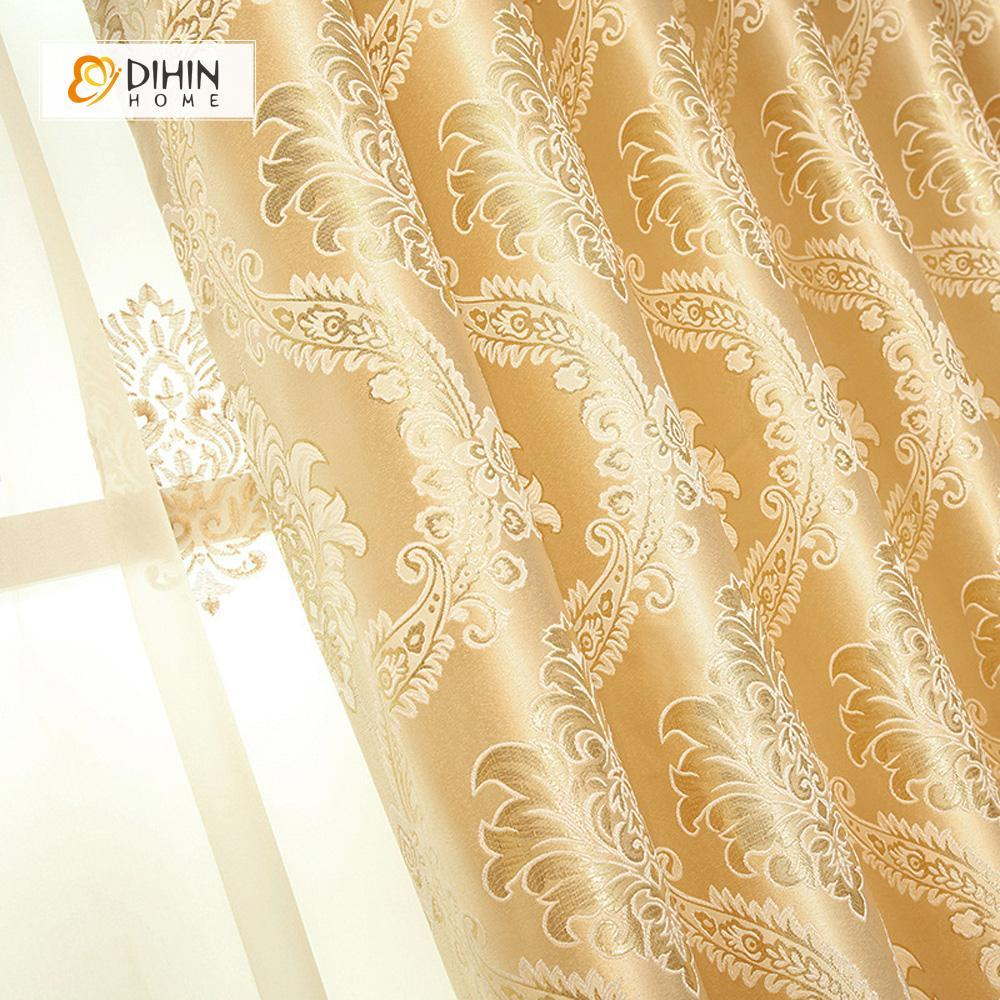 DIHINHOME Home Textile European Curtain DIHIN HOME Beige Noble Elegant Embroidered Valance ,Blackout Curtains Grommet Window Curtain for Living Room ,52x84-inch,1 Panel