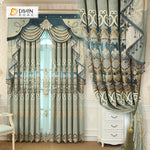 DIHINHOME Home Textile European Curtain DIHIN HOME Beige Pattern Embroidered Beige Valance,Blackout Curtains Grommet Window Curtain for Living Room ,52x84-inch,1 Panel