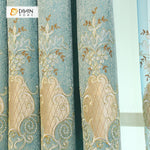 DIHINHOME Home Textile European Curtain DIHIN HOME Beige Pattern Embroidered Blue Valance,Blackout Curtains Grommet Window Curtain for Living Room ,52x84-inch,1 Panel