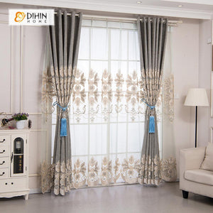 DIHINHOME Home Textile European Curtain DIHIN HOME Beige Pattern Embroidered Valance,Blackout Curtains Grommet Window Curtain for Living Room ,52x84-inch,1 Panel