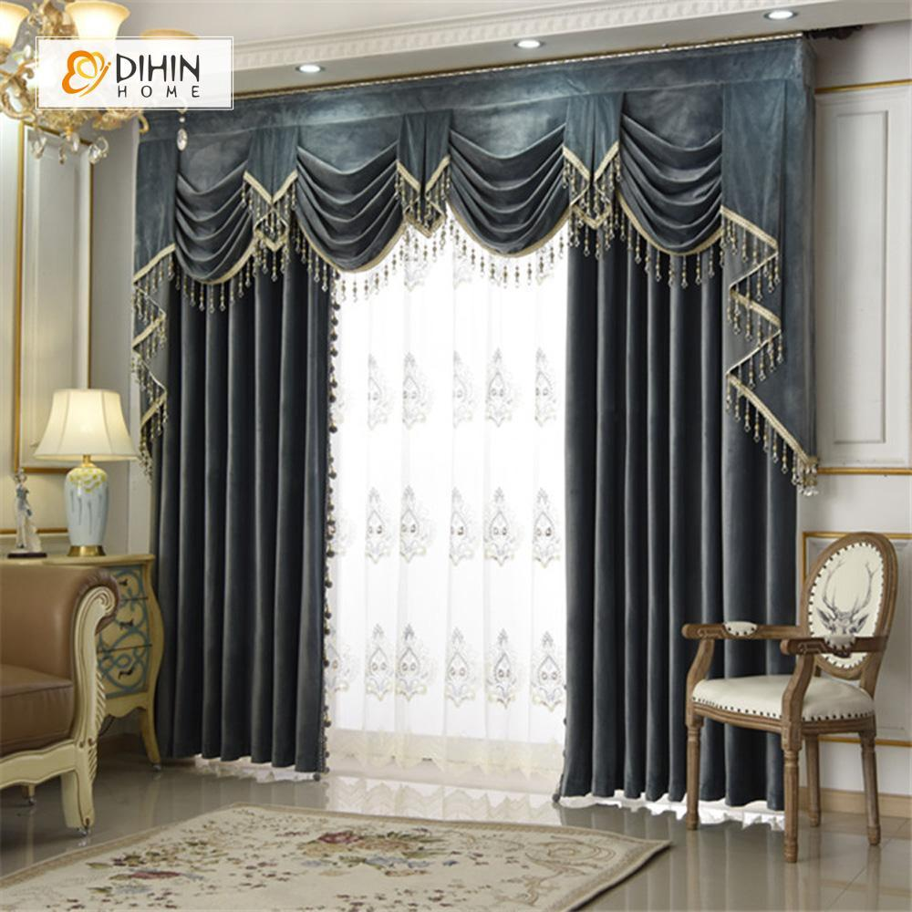 DIHINHOME Home Textile European Curtain DIHIN HOME Black Valance ,Blackout Curtains Grommet Window Curtain for Living Room ,52x84-inch,1 Panel