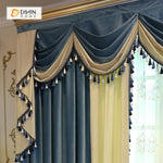 DIHINHOME Home Textile European Curtain DIHIN HOME Blue and Beige Velvet Valance ,Blackout Curtains Grommet Window Curtain for Living Room ,52x84-inch,1 Panel