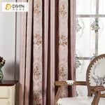 DIHINHOME Home Textile European Curtain DIHIN HOME Blue and Red Flowers Embroidered,Blackout Curtains Grommet Window Curtain for Living Room ,52x84-inch,1 Panel