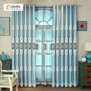 DIHINHOME Home Textile European Curtain DIHIN HOME Blue Elegant Embroidered,Blackout Grommet Window Curtain for Living Room ,52x63-inch,1 Panel