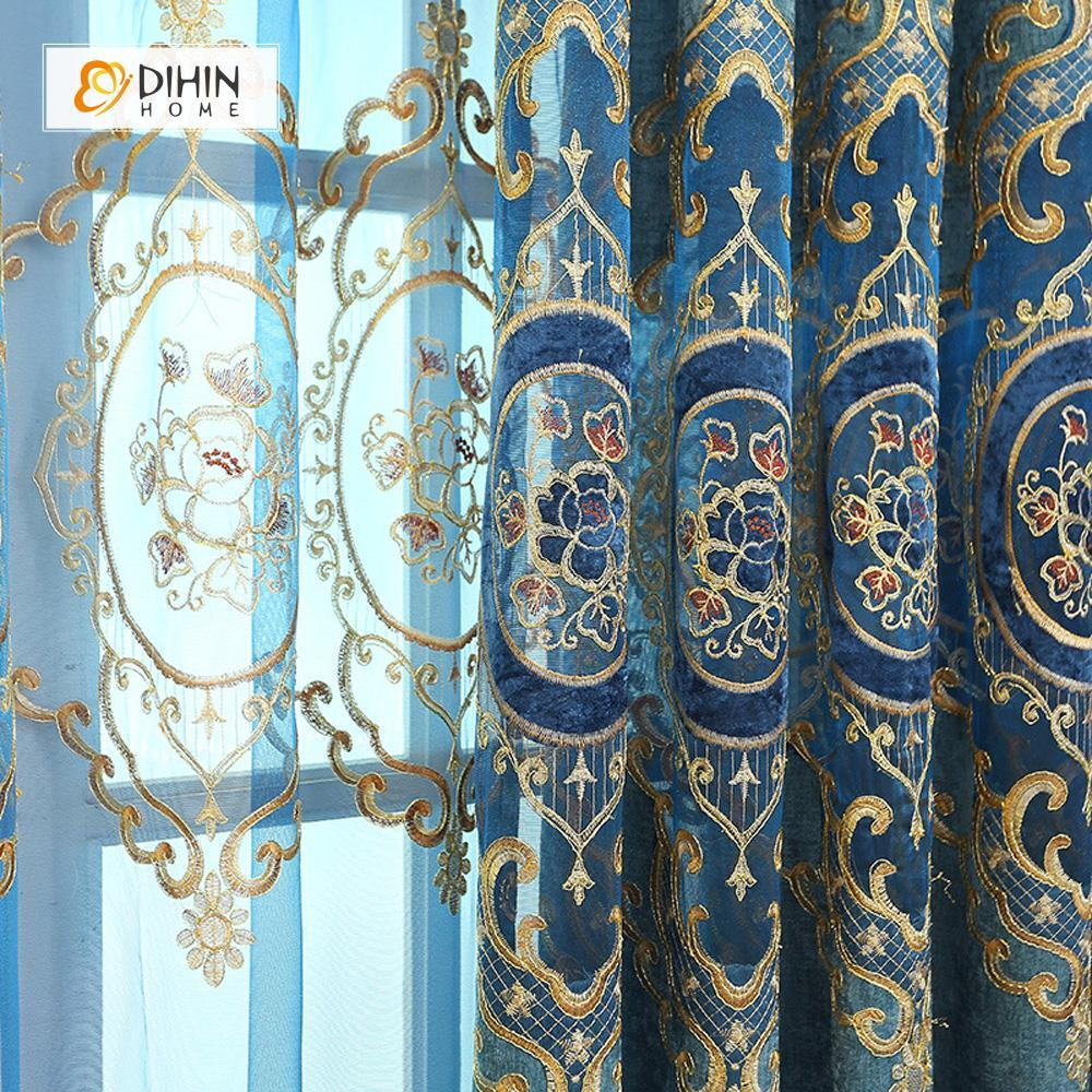 DIHINHOME Home Textile European Curtain DIHIN HOME Blue Embroidered  Exquisite Valance,Blackout Curtains Grommet Window Curtain for Living Room ,52x84-inch,1 Panel