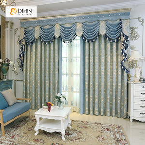 DIHINHOME Home Textile European Curtain DIHIN HOME Blue Embroidered Velvet Exquisite Valance ,Blackout Curtains Grommet Window Curtain for Living Room ,52x84-inch,1 Panel