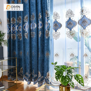 DIHINHOME Home Textile European Curtain DIHIN HOME Blue European Luxury Embroiderded ,Chenille,Blackout Grommet Window Curtain for Living Room ,52x63-inch,1 Panel