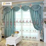 DIHINHOME Home Textile European Curtain DIHIN HOME Blue Exquisite Luxurious Embroidered Valance ,Blackout Curtains Grommet Window Curtain for Living Room ,52x84-inch,1 Panel