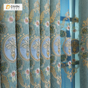 DIHINHOME Home Textile European Curtain DIHIN HOME Blue Flower Embroidered,Blackout Grommet Window Curtain for Living Room ,52x63-inch,1 Panel