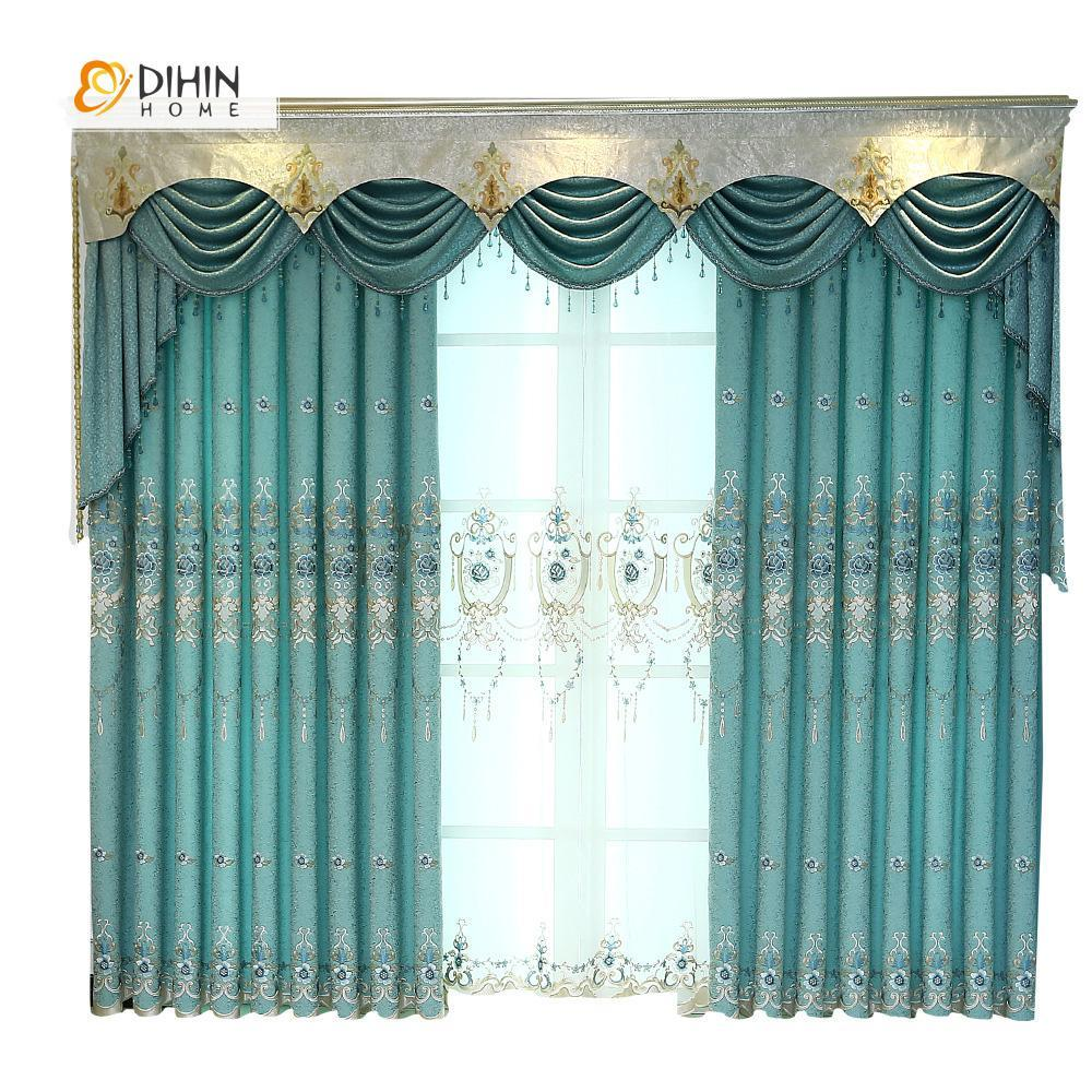 DIHINHOME Home Textile European Curtain DIHIN HOME Blue Flower Embroidered Luxurious Valance ,Blackout Curtains Grommet Window Curtain for Living Room ,52x84-inch,1 Panel