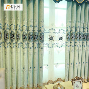 DIHINHOME Home Textile European Curtain DIHIN HOME Blue Flowers Embroidered Luxurious Valance ,Blackout Curtains Grommet Window Curtain for Living Room ,52x84-inch,1 Panel