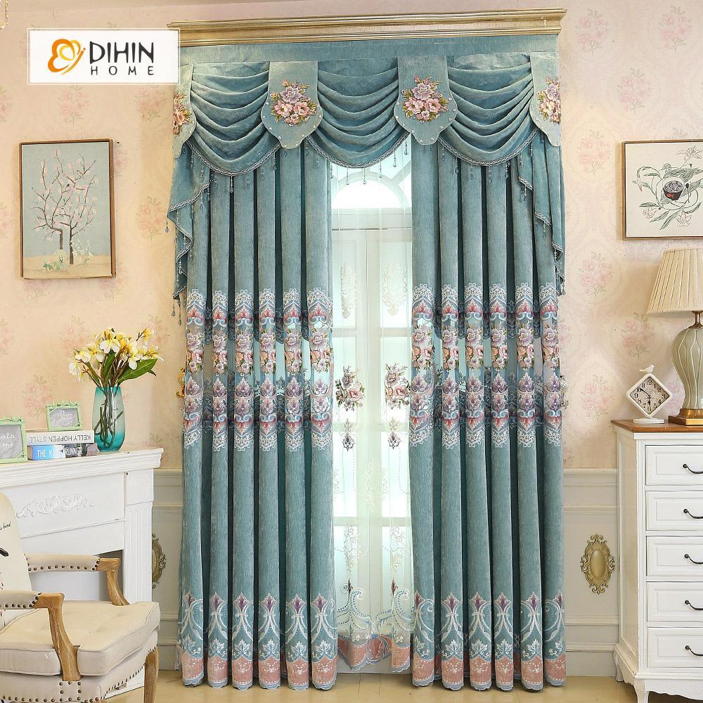 DIHINHOME Home Textile European Curtain DIHIN HOME Blue Flowers Exquisite Luxurious Embroidered Valance ,Blackout Curtains Grommet Window Curtain for Living Room ,52x84-inch,1 Panel