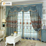 DIHINHOME Home Textile European Curtain DIHIN HOME Blue Flowers Exquisite Luxury Embroidered Valance ,Blackout Curtains Grommet Window Curtain for Living Room ,52x84-inch,1 Panel