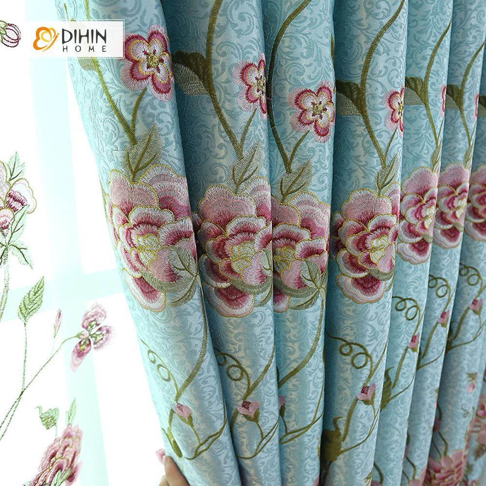 DIHINHOME Home Textile European Curtain DIHIN HOME Blue High Quality Embroidered Valance ,Blackout Curtains Grommet Window Curtain for Living Room ,52x84-inch,1 Panel