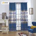 DIHIN HOME Blue Luxury Embroidered,Chenille,Blackout Grommet Window Curtain for Living Room ,52x63-inch,1 Panel