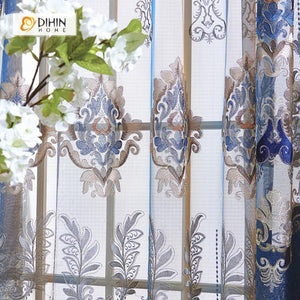 DIHINHOME Home Textile European Curtain DIHIN HOME Blue Luxury Embroidered,Chenille,Blackout Grommet Window Curtain for Living Room ,52x63-inch,1 Panel