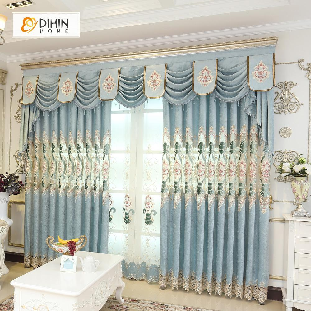 DIHINHOME Home Textile European Curtain DIHIN HOME Blue Luxury Embroidered Valance ,Blackout Curtains Grommet Window Curtain for Living Room ,52x84-inch,1 Panel