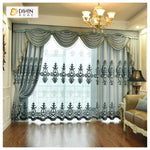 DIHINHOME Home Textile European Curtain DIHIN HOME Blue Noble Elegant Embroidered Valance ,Blackout Curtains Grommet Window Curtain for Living Room ,52x84-inch,1 Panel