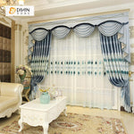 DIHINHOME Home Textile European Curtain DIHIN HOME Blue Noble Luxury Embroidered Valance ,Blackout Curtains Grommet Window Curtain for Living Room ,52x84-inch,1 Panel