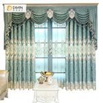 DIHINHOME Home Textile European Curtain DIHIN HOME Blue Velvet Luxury Exquisite Embroidered Valance ,Blackout Curtains Grommet Window Curtain for Living Room ,52x84-inch,1 Panel