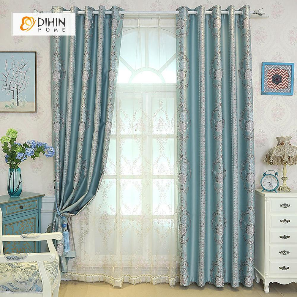DIHINHOME Home Textile European Curtain DIHIN HOME Bright Color FLowers Embroidered,Blackout Grommet Window Curtain for Living Room ,52x63-inch,1 Panel
