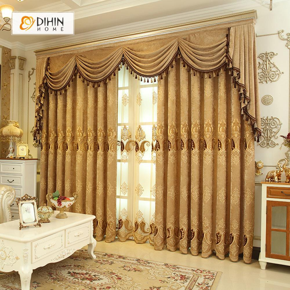 DIHINHOME Home Textile European Curtain DIHIN HOME Brown Elegant Embroidered Valance ,Blackout Curtains Grommet Window Curtain for Living Room ,52x84-inch,1 Panel