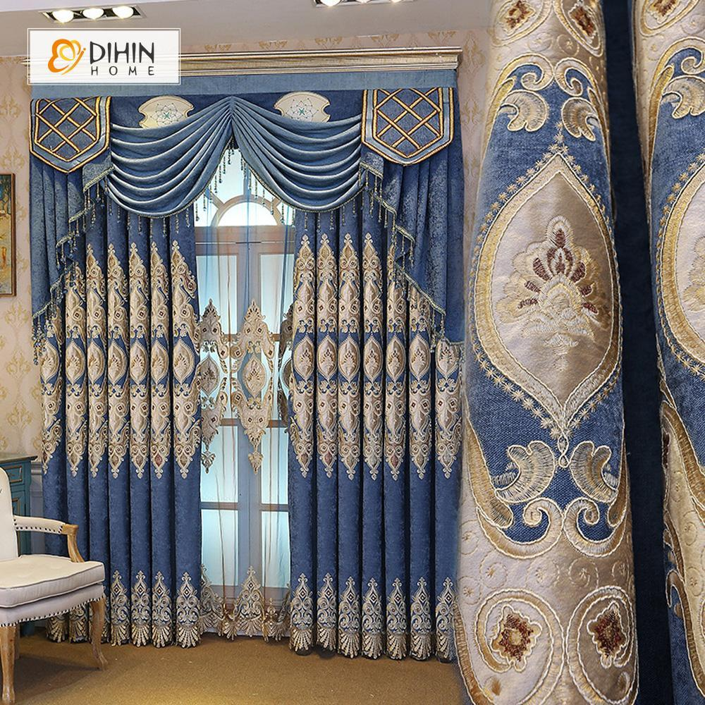 DIHINHOME Home Textile European Curtain DIHIN HOME Brown Embroidered Blue Valance ,Blackout Curtains Grommet Window Curtain for Living Room ,52x84-inch,1 Panel