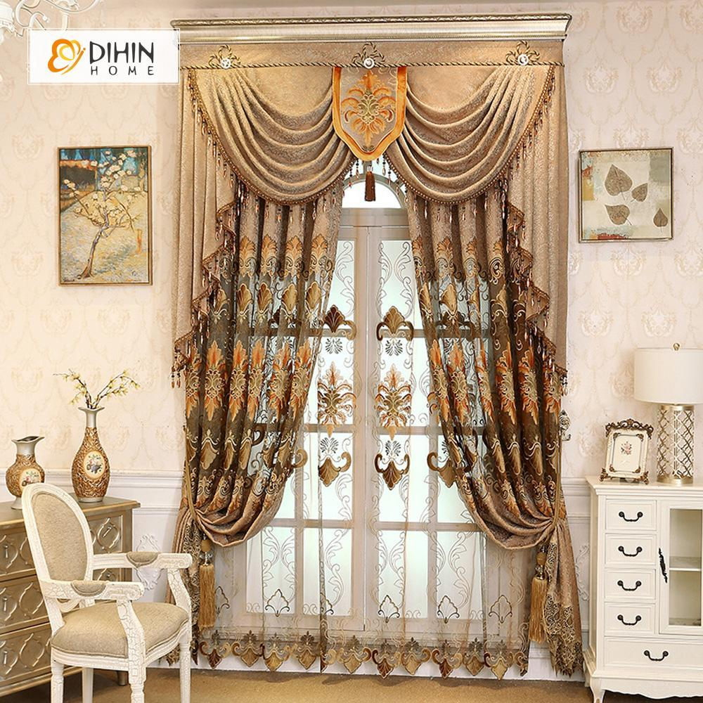 DIHIN HOME Brown Embroidered Luxurious Valance ,Blackout Curtains Grommet  Window Curtain for Living Room ,52x84-inch,1 Panel