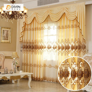 DIHINHOME Home Textile European Curtain DIHIN HOME Brown Embroidered Yellow Valance ,Blackout Curtains Grommet Window Curtain for Living Room ,52x84-inch,1 Panel