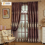 DIHINHOME Home Textile European Curtain DIHIN HOME Brown European Luxury Embroiderded ,Chenille,Blackout Grommet Window Curtain for Living Room ,52x63-inch,1 Panel