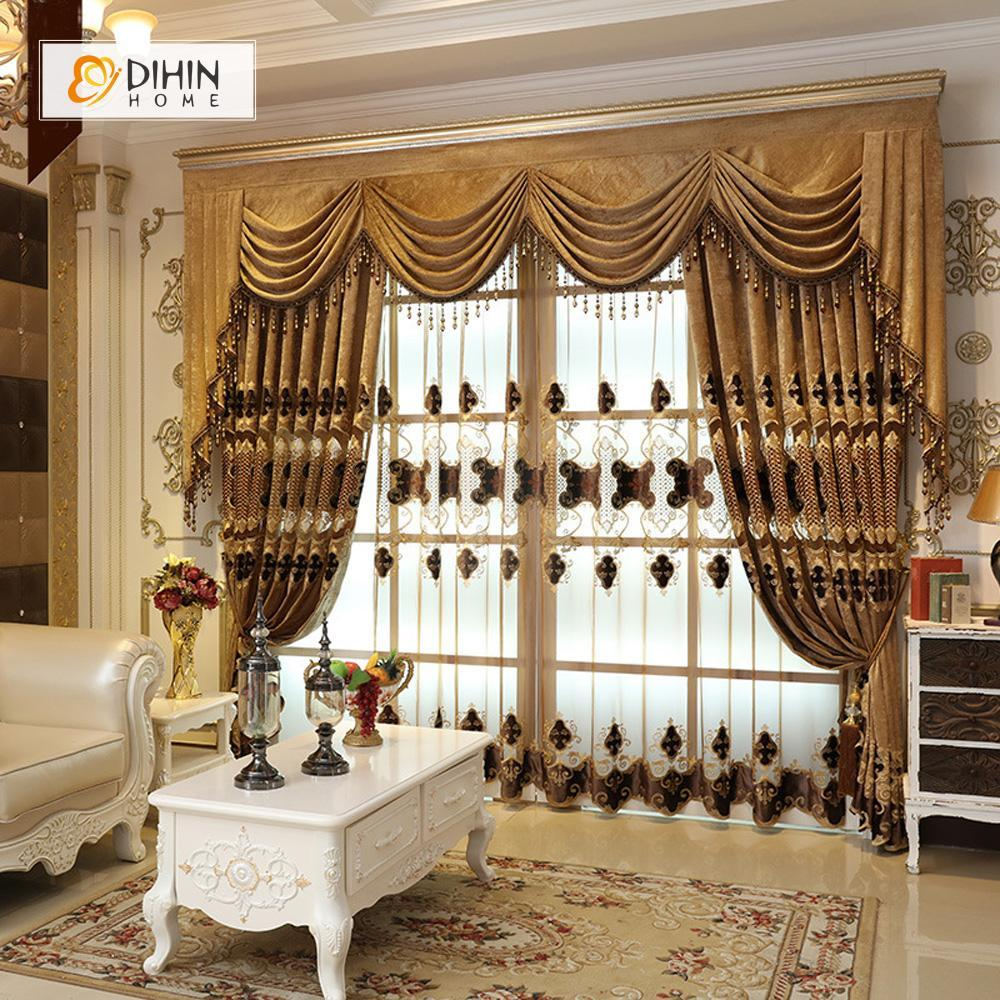 DIHINHOME Home Textile European Curtain DIHIN HOME Brown Exquisite Embroidered Valance ,Blackout Curtains Grommet Window Curtain for Living Room ,52x84-inch,1 Panel