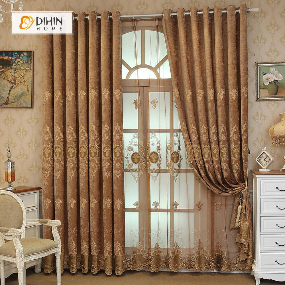 DIHINHOME Home Textile European Curtain DIHIN HOME Brown Flower Embroidered,Blackout Grommet Window Curtain for Living Room ,52x63-inch,1 Panel
