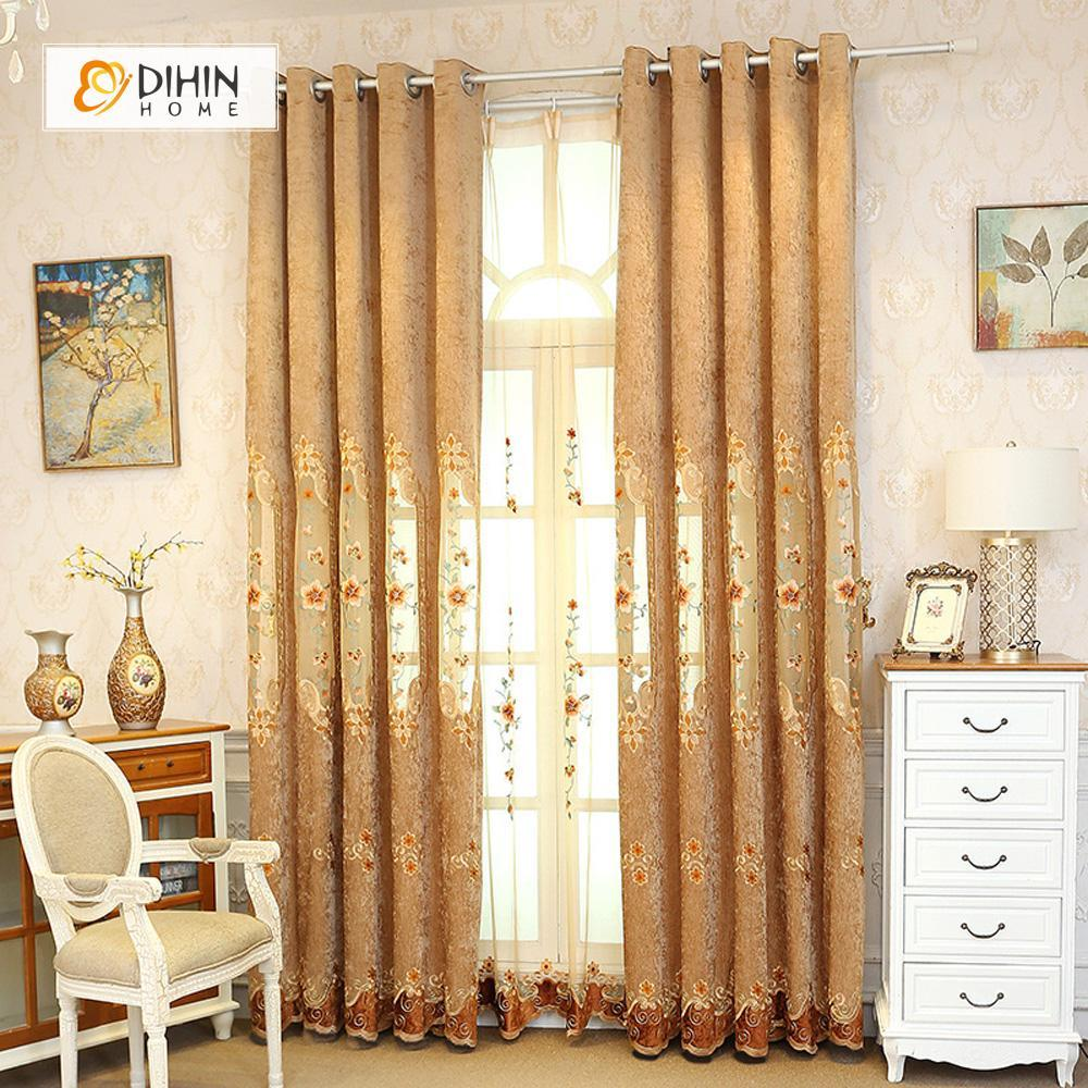 DIHIN HOME Brown Flowers Embroidered Exquisite Valance,Blackout Curtains  Grommet Window Curtain for Living Room ,52x84-inch,1 Panel