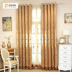 DIHINHOME Home Textile European Curtain DIHIN HOME Brown Flowers Embroidered  Exquisite Valance,Blackout Curtains Grommet Window Curtain for Living Room ,52x84-inch,1 Panel