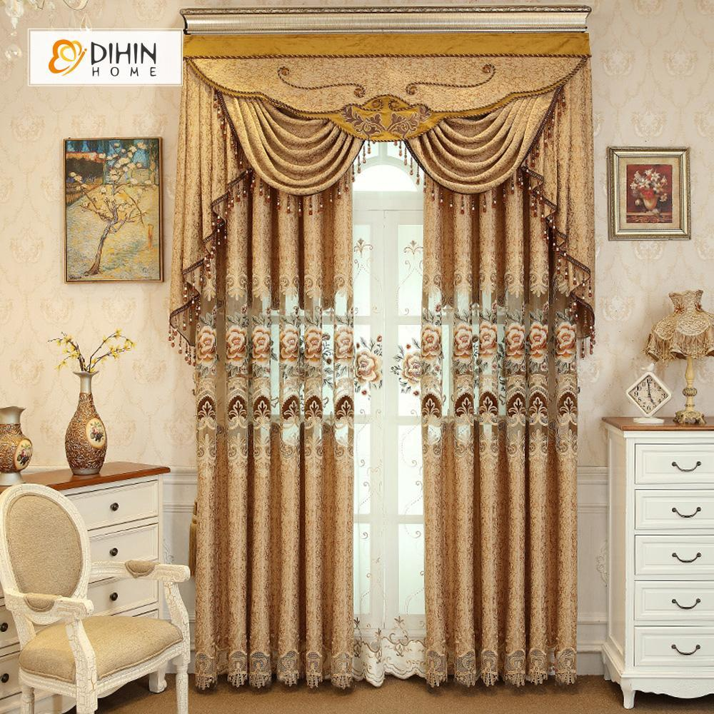 DIHINHOME Home Textile European Curtain DIHIN HOME Brown Flowers Embroidered Luxurious Valance ,Blackout Curtains Grommet Window Curtain for Living Room ,52x84-inch,1 Panel