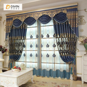 DIHINHOME Home Textile European Curtain DIHIN HOME Brown High Quality Embroidered Valance ,Blackout Curtains Grommet Window Curtain for Living Room ,52x84-inch,1 Panel