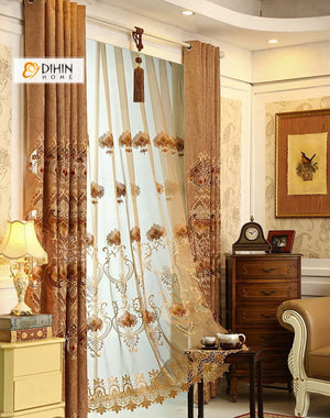 DIHINHOME Home Textile European Curtain DIHIN HOME Brown Leaves Embroidered ,Blackout Curtains Grommet Window Curtain for Living Room ,52x84-inch,1 Panel