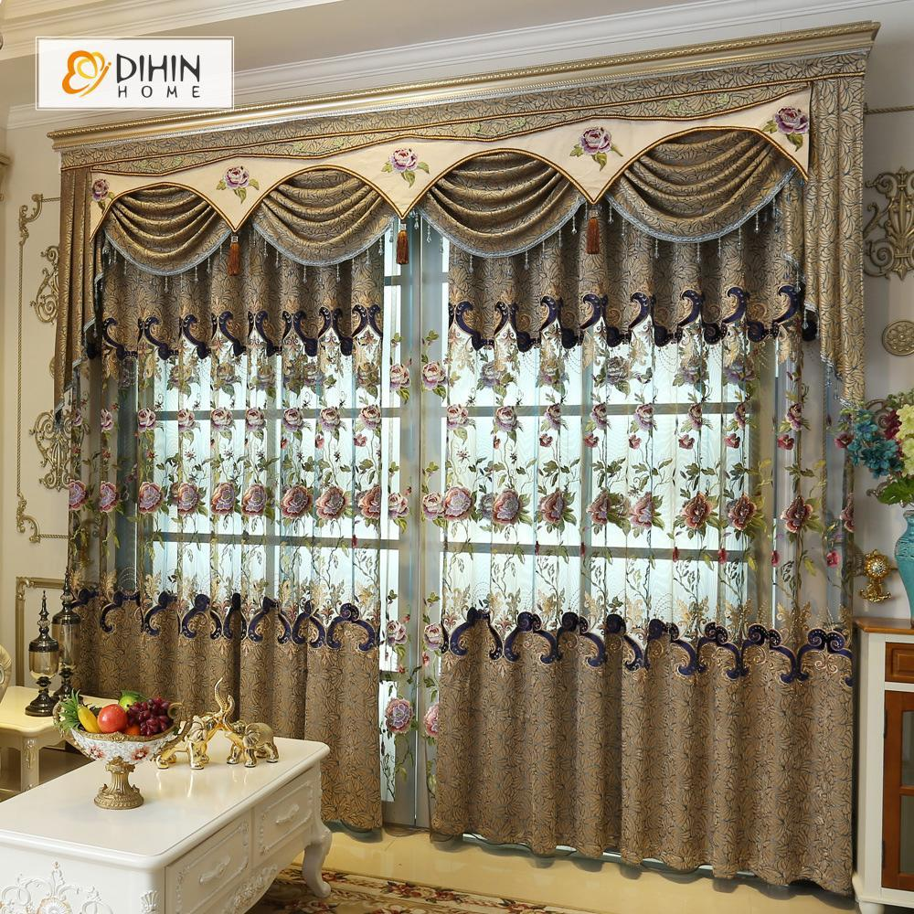 DIHINHOME Home Textile European Curtain DIHIN HOME Brown Luxury Embroidered Valance ,Blackout Curtains Grommet Window Curtain for Living Room ,52x84-inch,1 Panel