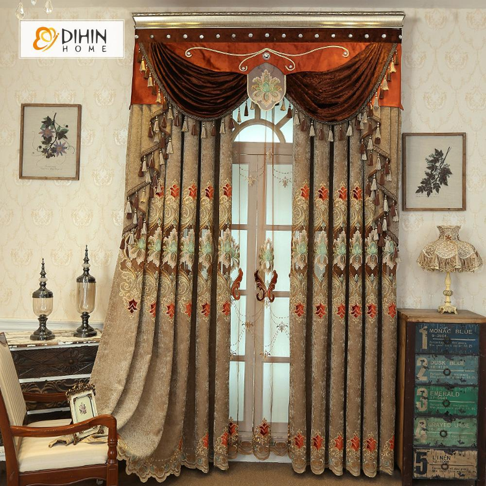DIHINHOME Home Textile European Curtain DIHIN HOME Brown Luxury Exquisite Embroidered Valance ,Blackout Curtains Grommet Window Curtain for Living Room ,52x84-inch,1 Panel