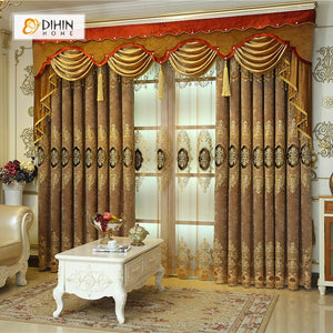 DIHINHOME Home Textile European Curtain DIHIN HOME Brown Noble Elegant Embroidered Valance ,Blackout Curtains Grommet Window Curtain for Living Room ,52x84-inch,1 Panel