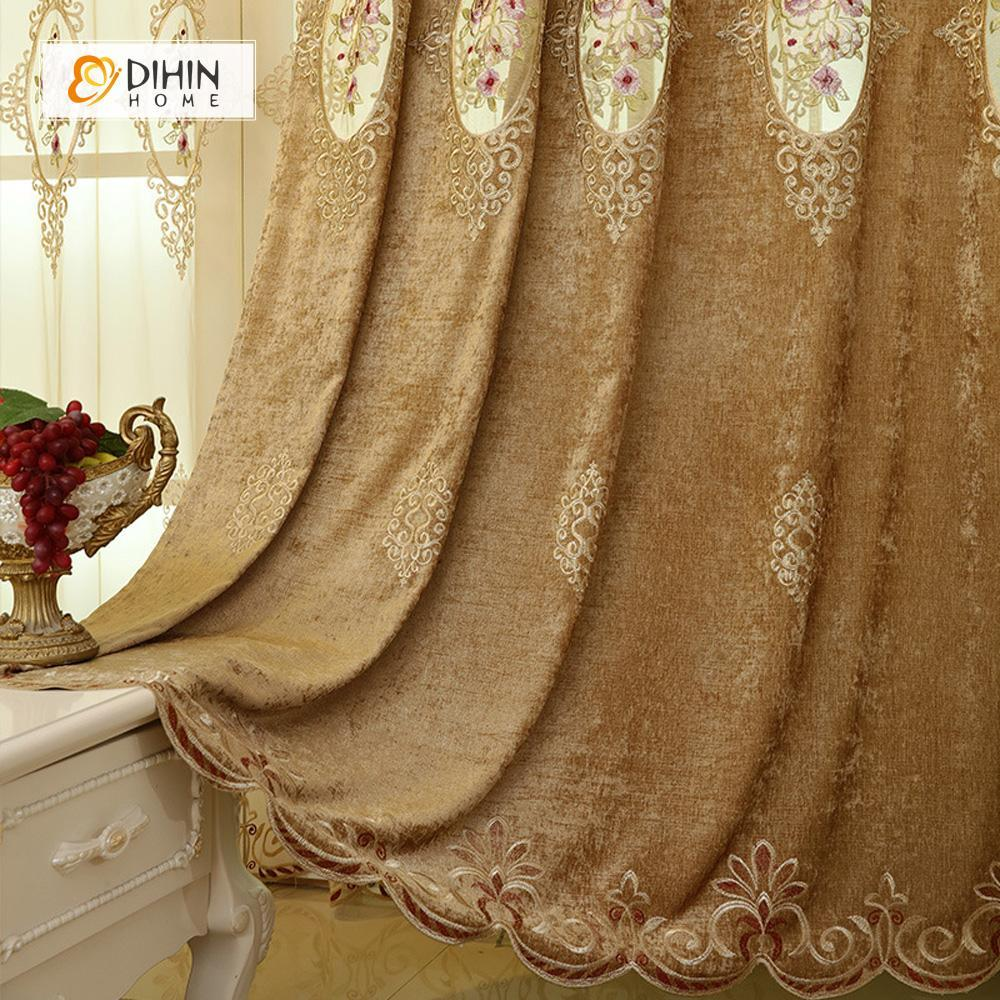 DIHINHOME Home Textile European Curtain DIHIN HOME Brown Noble Luxury Embroidered Valance ,Blackout Curtains Grommet Window Curtain for Living Room ,52x84-inch,1 Panel