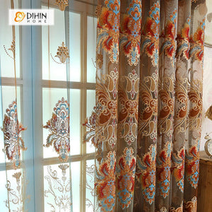 DIHINHOME Home Textile European Curtain DIHIN HOME Brown Pattern Embroidered  Exquisite Valance,Blackout Curtains Grommet Window Curtain for Living Room ,52x84-inch,1 Panel