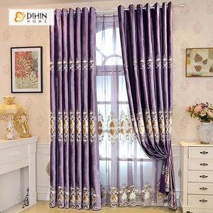 DIHINHOME Home Textile European Curtain DIHIN HOME Brown Velvet Embroidered ,Blackout Curtains Grommet Window Curtain for Living Room ,52x84-inch,1 Panel