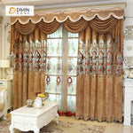DIHINHOME Home Textile European Curtain DIHIN HOME Brown Velvet Exquisite Luxury Embroidered Valance ,Blackout Curtains Grommet Window Curtain for Living Room ,52x84-inch,1 Panel