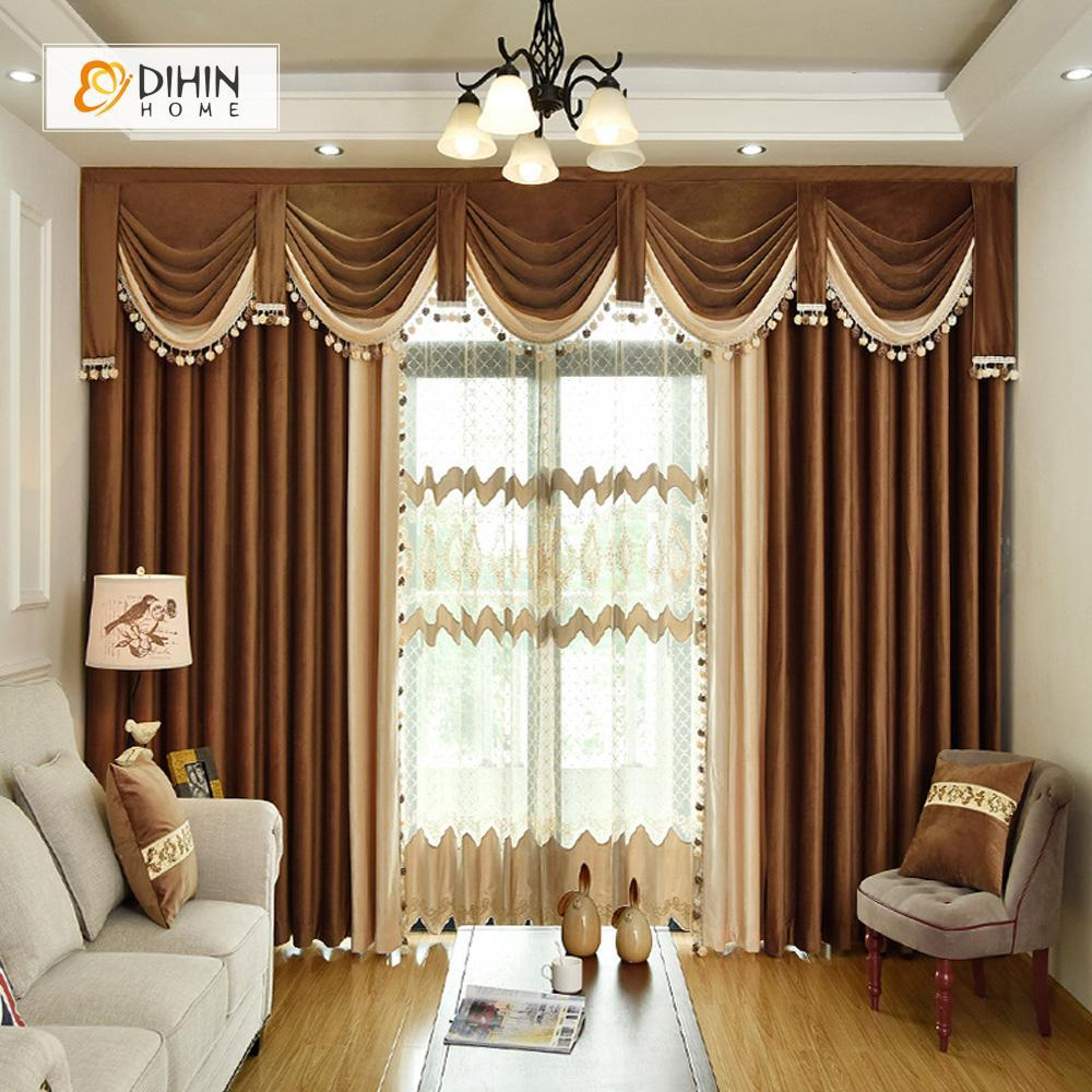 DIHINHOME Home Textile European Curtain DIHIN HOME Brown Velvet Exquisite Valance ,Blackout Curtains Grommet Window Curtain for Living Room ,52x84-inch,1 Panel