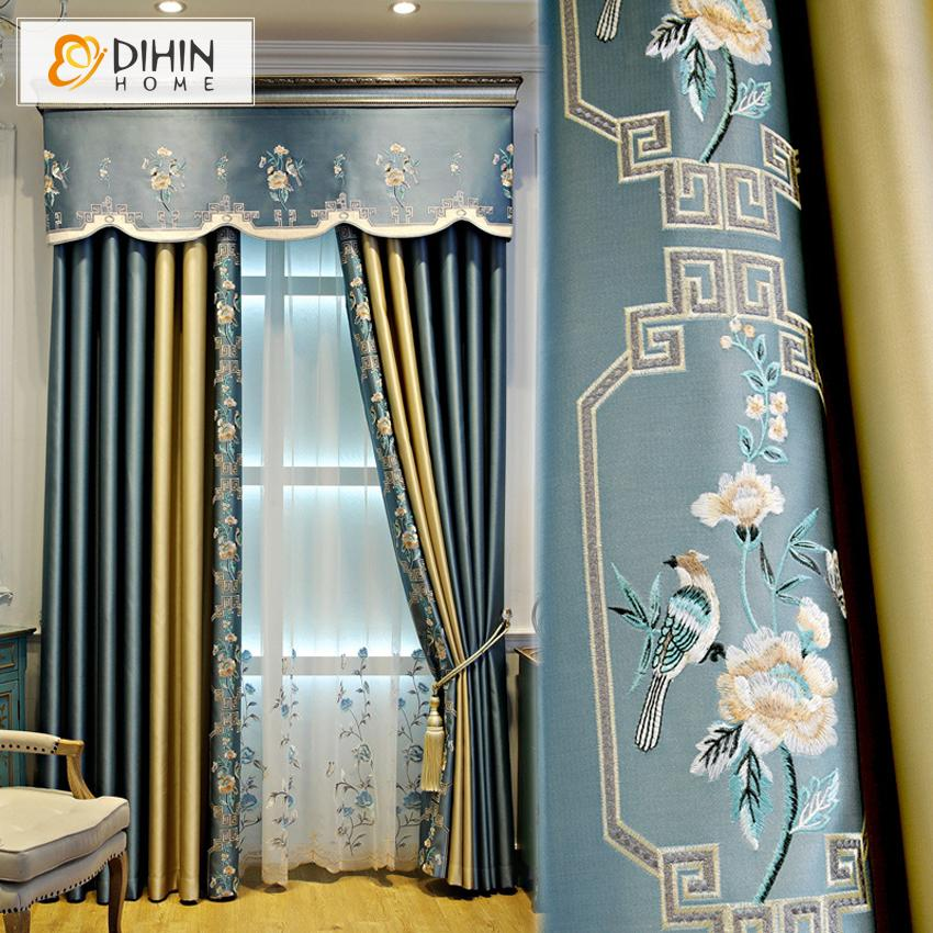DIHINHOME Home Textile European Curtain DIHIN HOME Chinese Style Luxury Curtain Drapes Customized Valance ,Blackout Curtains Grommet Window Curtain for Living Room ,52x84-inch,1 Panel
