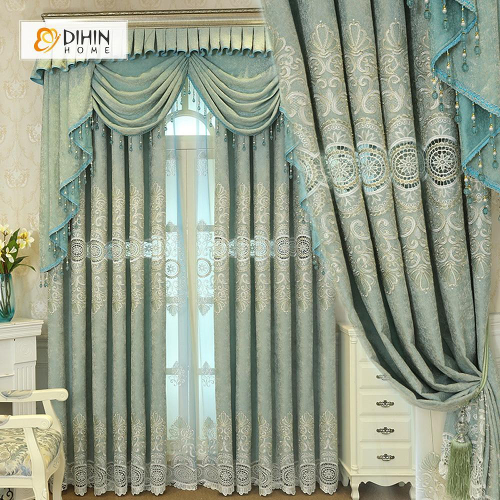 DIHINHOME Home Textile European Curtain DIHIN HOME Circular Pattern Embroidered Blue Background,Blackout Curtains Grommet Window Curtain for Living Room ,52x84-inch,1 Panel