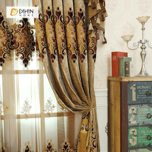 DIHINHOME Home Textile European Curtain DIHIN HOME Classical Luxury Embroidered Valance ,Blackout Curtains Grommet Window Curtain for Living Room ,52x84-inch,1 Panel