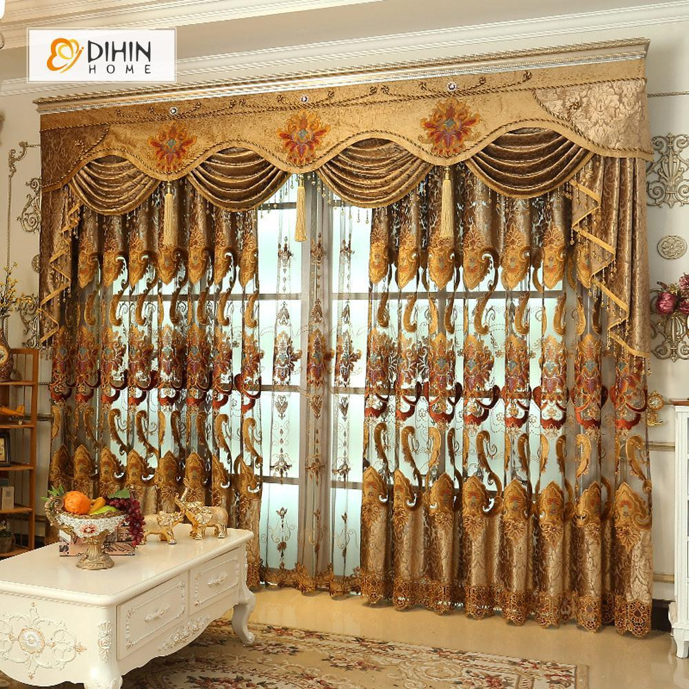 DIHINHOME Home Textile European Curtain DIHIN HOME Classical Luxury Exquisite Embroidered Valance ,Blackout Curtains Grommet Window Curtain for Living Room ,52x84-inch,1 Panel