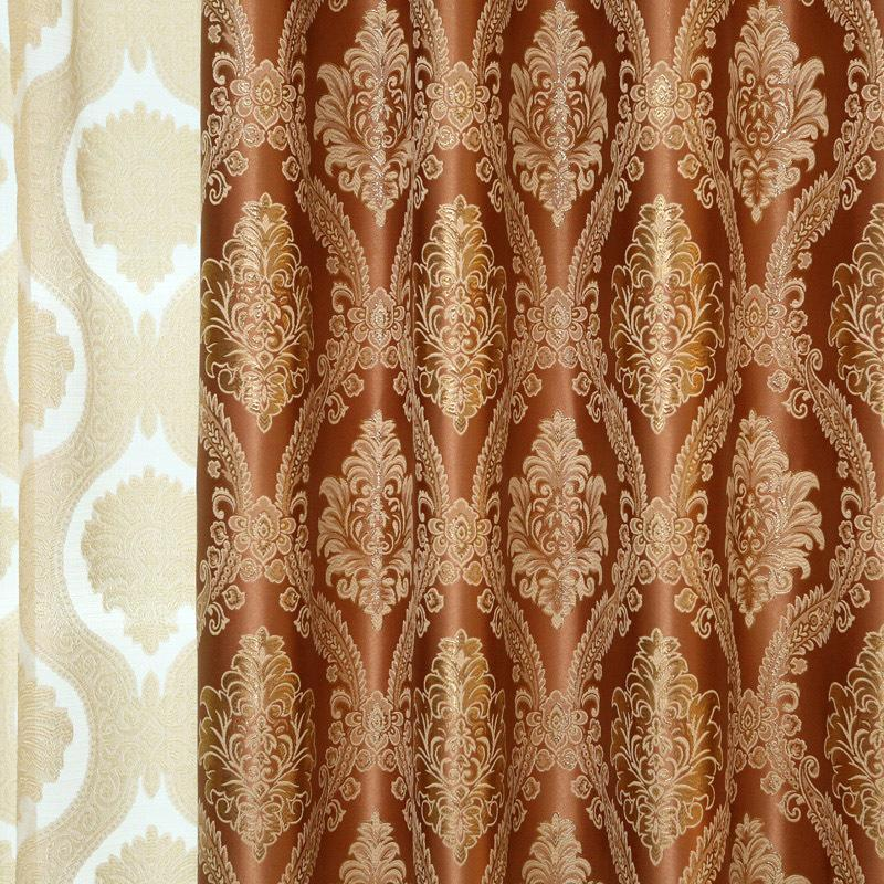DIHINHOME Home Textile European Curtain DIHIN HOME Coffee European Blackout Curtain Luxury Valance For Living Room